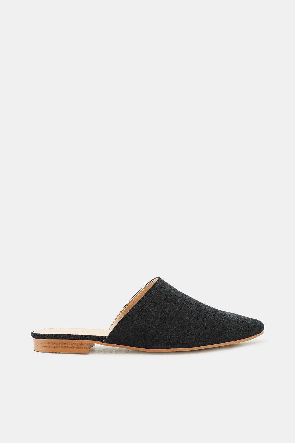 ESPRIT Slipper mit spitzer Zehenpartie, aus Veloursleder online kaufen  BLACK