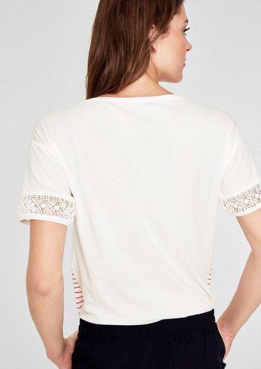 s.Oliver RED LABEL Jerseyshirt mit Crochet-Spitze