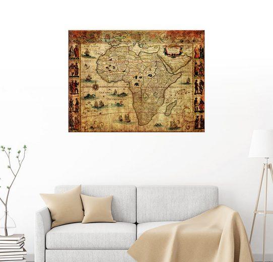 Posterlounge Wandbild - Michaels Antike Weltkarten »Afrika 1660«