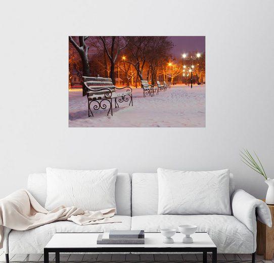 Posterlounge Wandbild »Parkbänke an einem Wintermorgen«