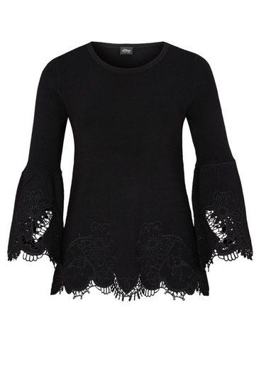 s.Oliver BLACK LABEL Stretch-Pullover mit Spitze
