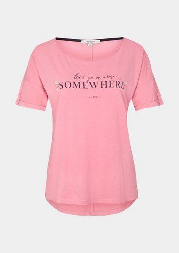 COMMA Jersey-Kurzarmshirt mit Statement-Print