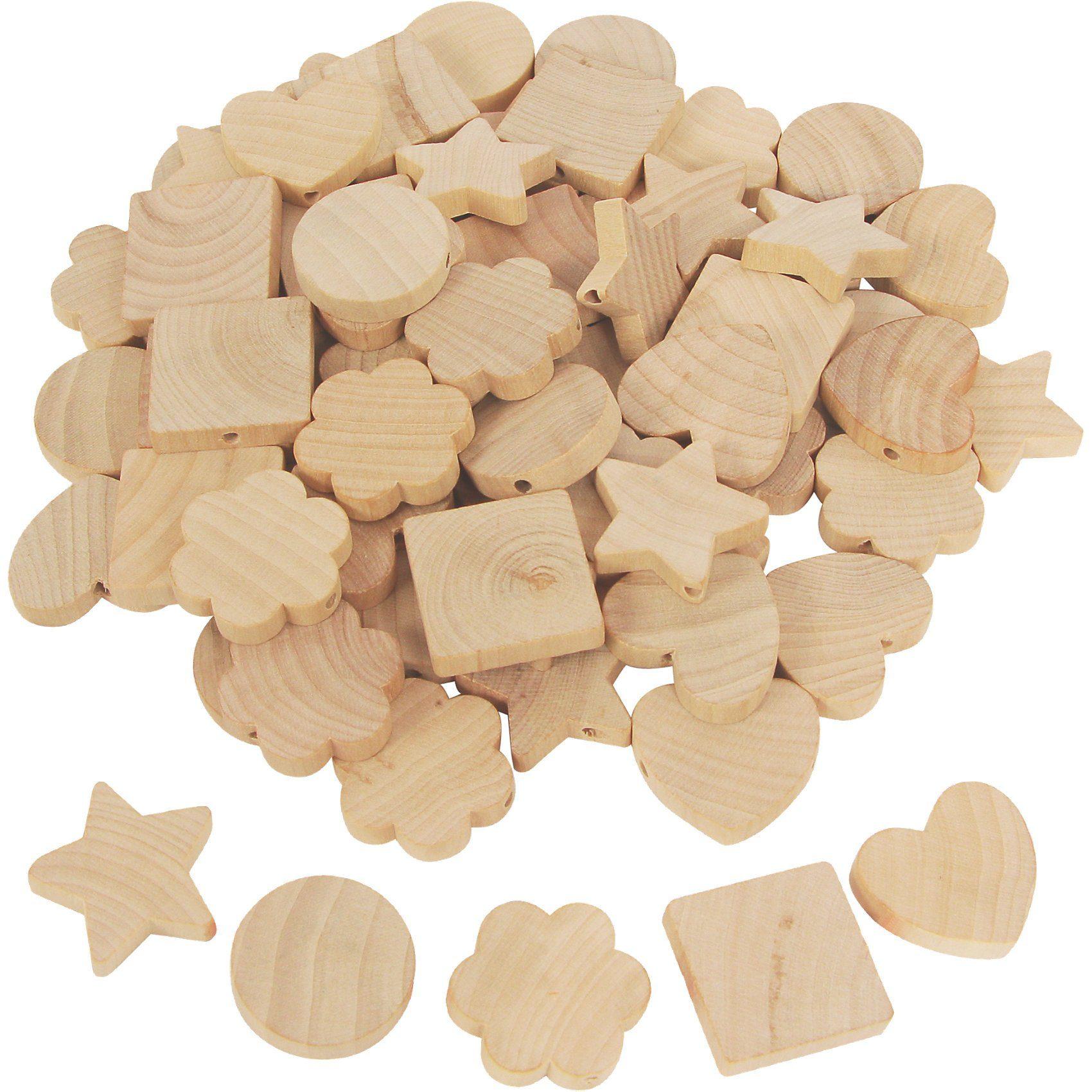 SUNNYSUE Holzperlen zum Fädeln und Bemalen, 72 Stück