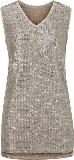 Lady Shirttop in silberfarbig schimmernder, effektvoll gecrashter Qualität