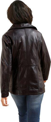 Collection L. Leder-Jacke mit Umlegekragen