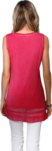 Création L Shirttop mit Spitzen-Einsatz und schimmernden Ziersteinchen