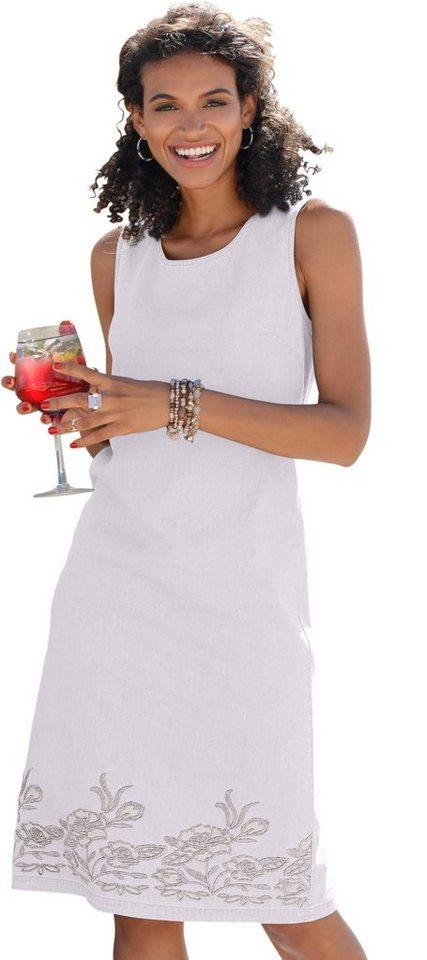 Damen Classic Basics Kleid mit floraler Stickerei weiß | 08935241100498