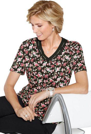 Classic Shirt mit silberfarbenen Metallplättchen und Glitzersteinchen