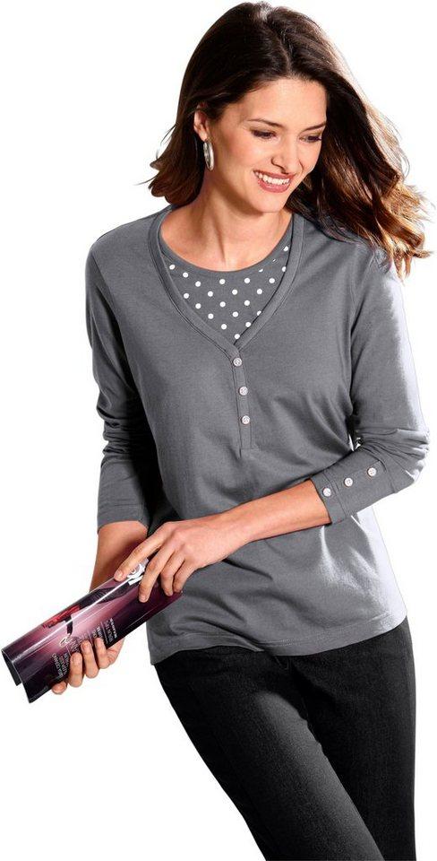 Classic Basics 2-in-1-Shirt im Tupfendessin | Bekleidung > Shirts > 2-in-1 Shirts | Grau | Classic Basics