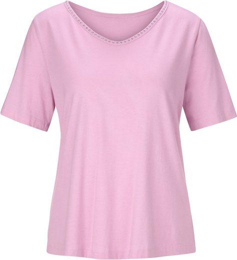 Shirt mit abgerundetem V-Ausschnitt