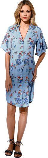 Création L Kleid im Mix aus Nadelstreifen und Blüten