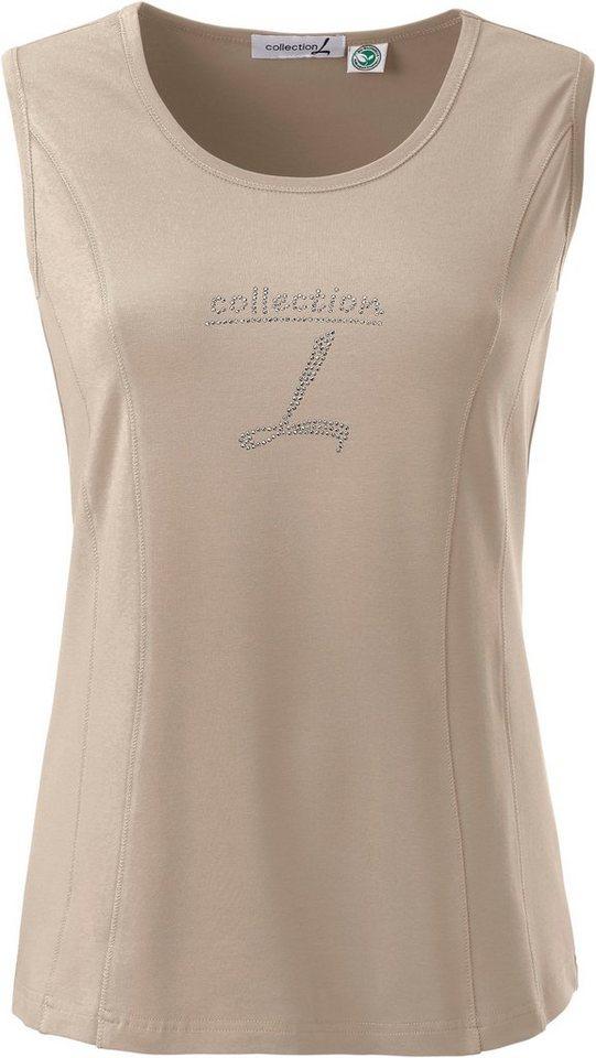 Damen Collection L. Shirttop mit paspeliertem Ausschnitt braun | 03800156885615