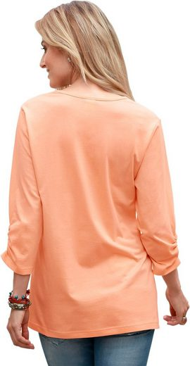 Classic Basics Shirt mit gerafftem V-Ausschnitt