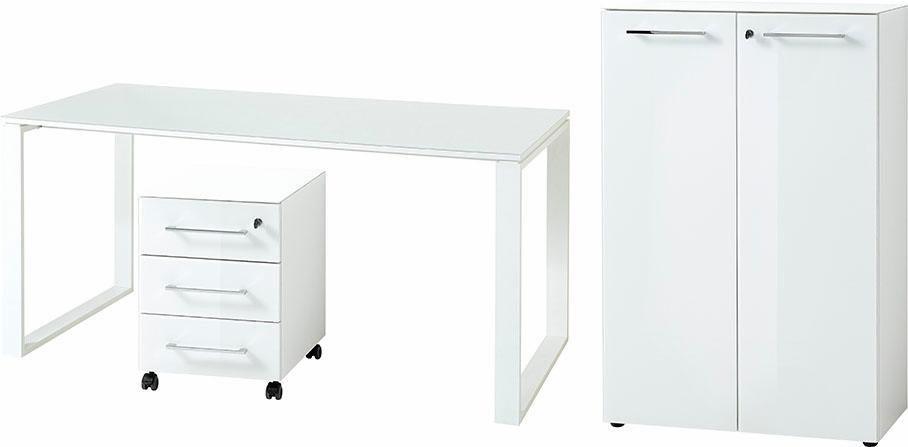 GERMANIA Büro-Set »GW-Monteria« (3-tlg.) | Büro > Büromöbel-Serien | Glanz | Spanplatte - Metall - Abs - Glänzend - Melamin | GERMANIA