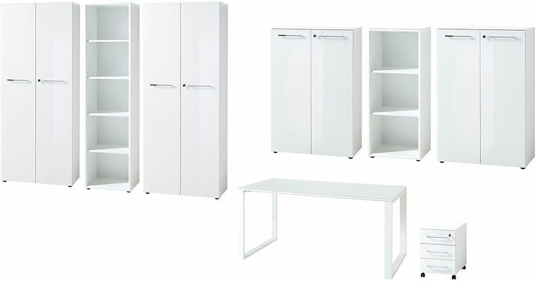 GERMANIA Büro-Set »GW-Monteria« (8-tlg.) | Büro > Büromöbel-Serien | Glanz | Spanplatte - Metall - Abs - Glänzend - Melamin | GERMANIA