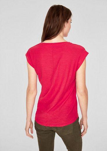 s.Oliver RED LABEL V-Neck-Shirt mit Statement-Print