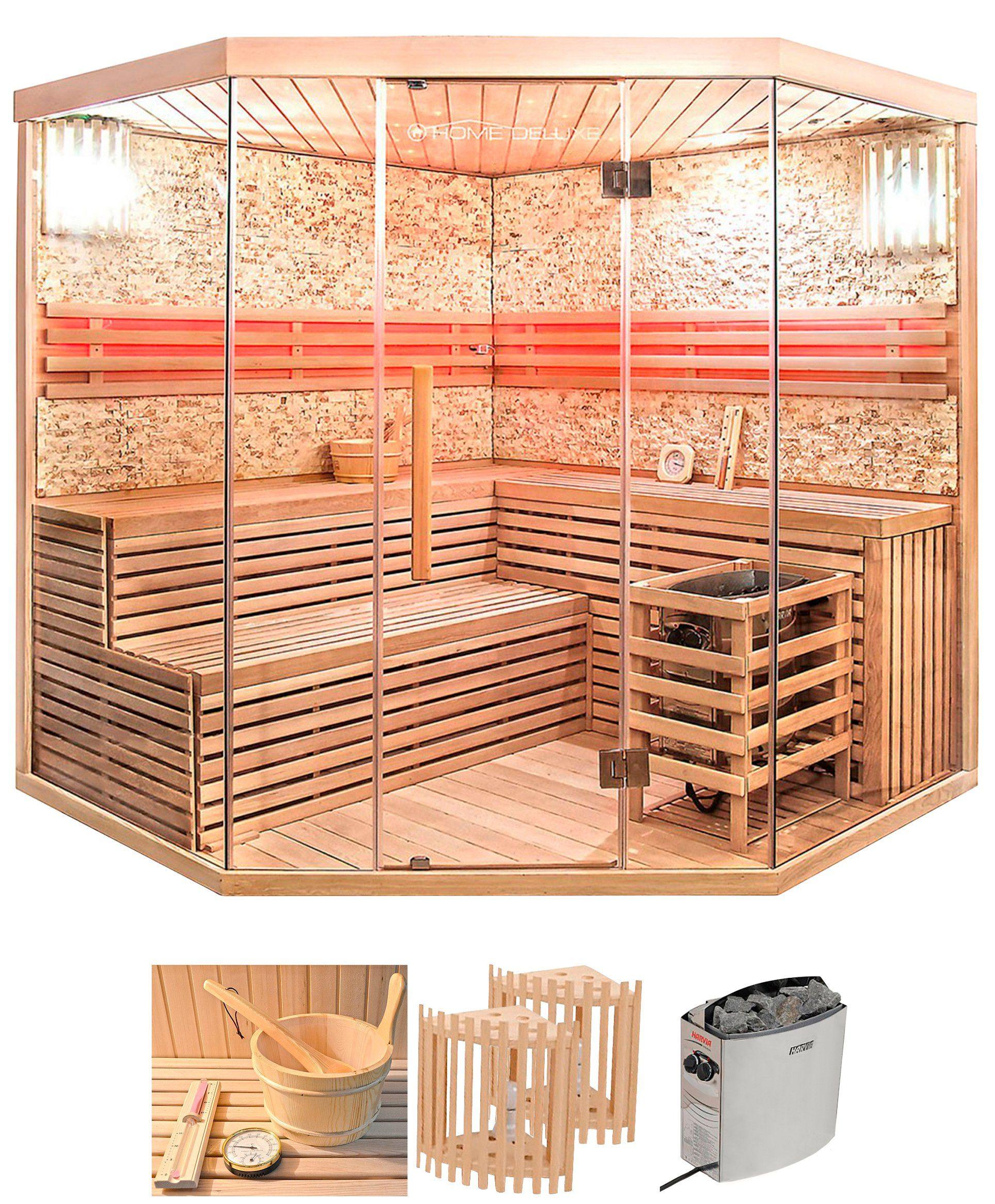 HOME DELUXE Set: Sauna »Skyline XL BIG«, B/T/H: 200/200/210 cm, 50 mm, 8-KW-Ofen mit int. Steuerung