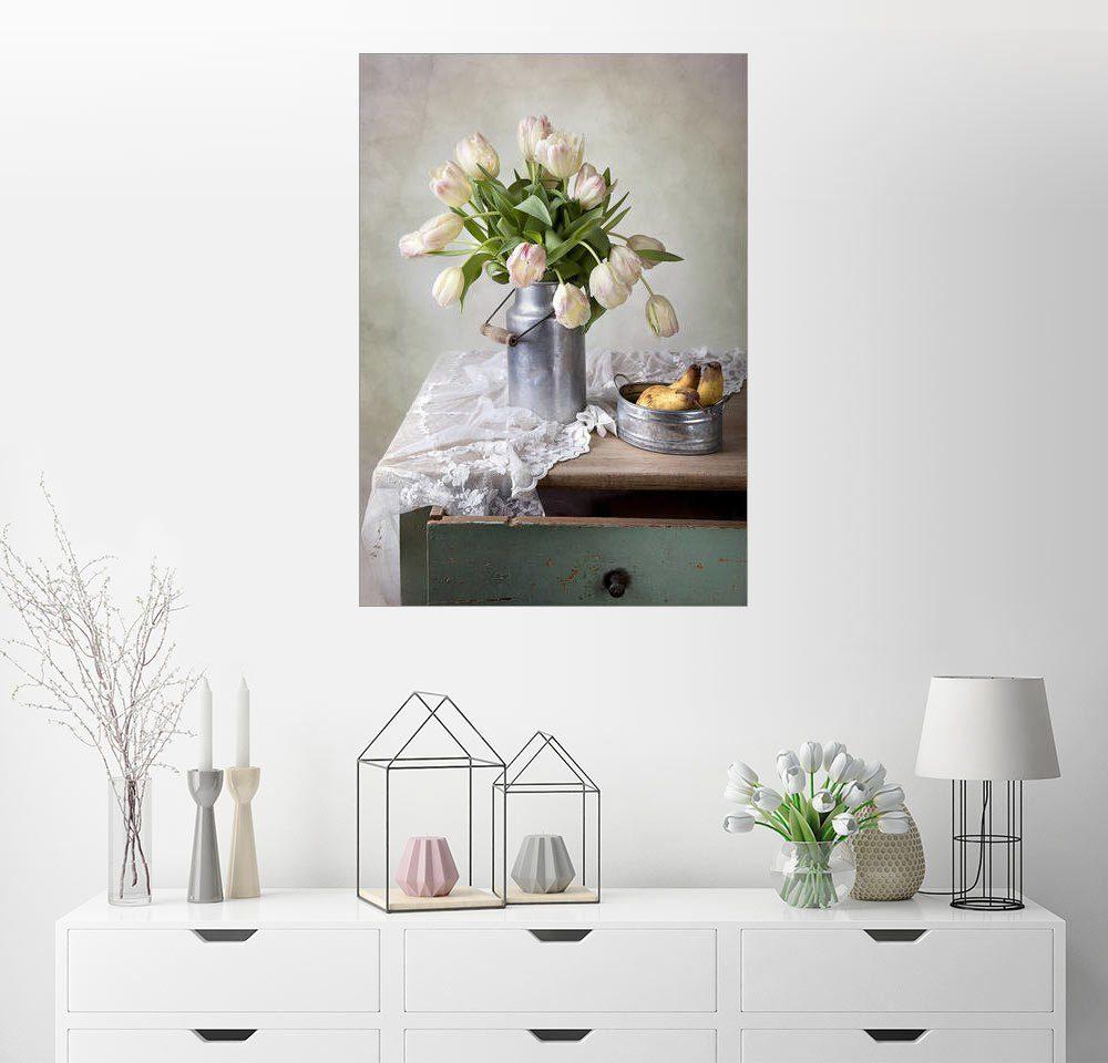Posterlounge Wandbild - Nailia Schwarz »Stilleben mit Tulpen«