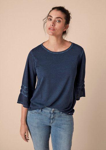 TRIANGLE Pigment Dye-Shirt mit Volantärmel