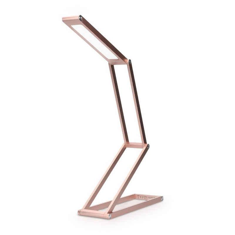kwmobile LED Schreibtischlampe, Aluminium Tischlampe faltbar - Akku Nachttisch Leselampe dimmbar Micro USB Ladekabel - Akku Schreibtischlampe Faltlampe