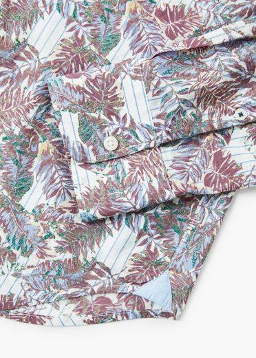 MANGO MAN Slim Fit-Hemd mit Blättermotiv