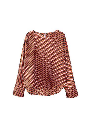MANGO Satinierte Bluse mit Streifen