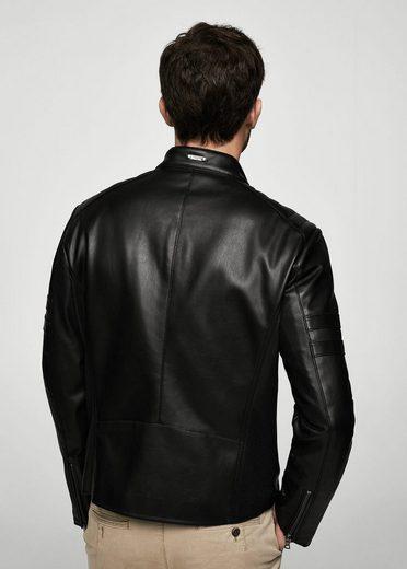 MANGO MAN Biker-Jacke mit gesteppten Einsätzen