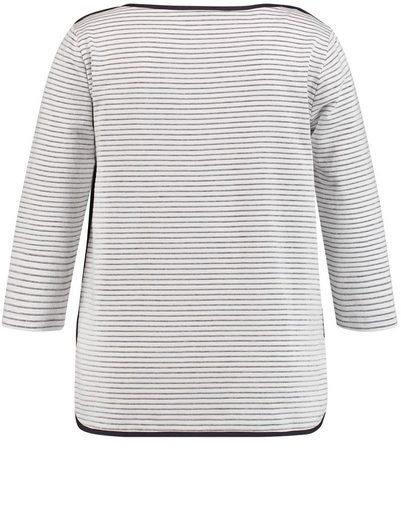 Samoon T-Shirt 3/4 Arm Rundhals Sweatshirt mit Strukturstreifen
