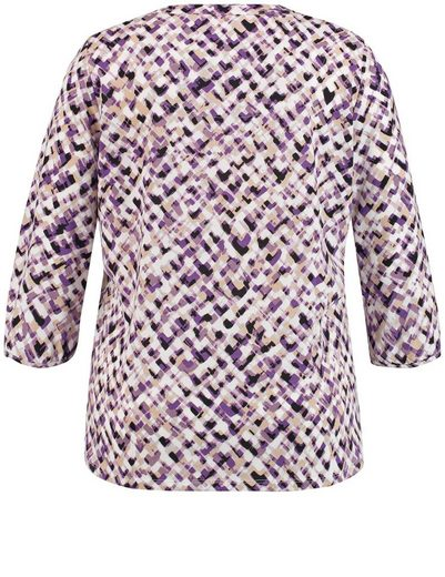 Samoon T-Shirt 3/4 Arm Rundhals 3/4 Arm Shirt mit Knopfleiste