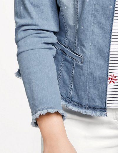 Samoon Jacke Jeans + Gewebe Jeansjacke mit Strasssteinen