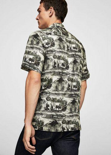 MANGO MAN Gemustertes Regular Fit-Hemd aus Baumwolle