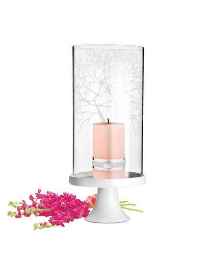Sendez Windlicht »Windlicht Glaszylinder mit Porzellanteller Kerzenhalter Tischdeko Kerzenständer Laterne«