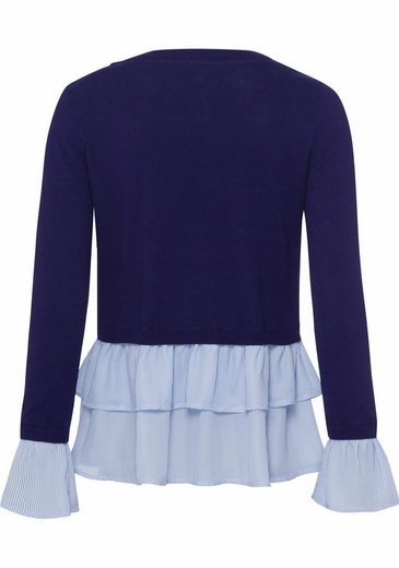 Wit 2-in-1-jumper, With Ruffles In The Layering