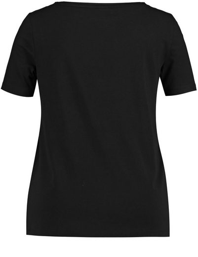 Samoon T-shirt Short Sleeve Crew Neck Shirt With Elaborate Application