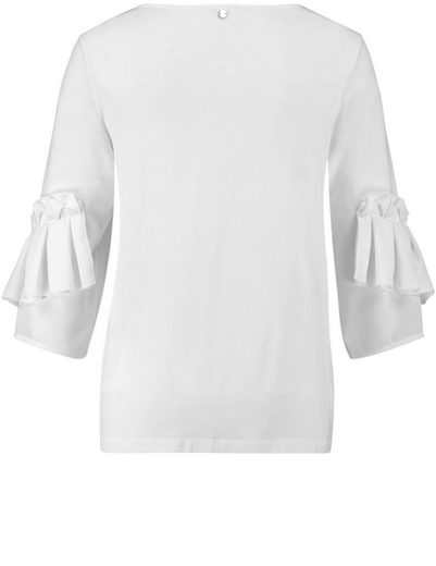 Taifun T-Shirt 3/4 Arm Rundhals Blusenshirt mit Rüschen