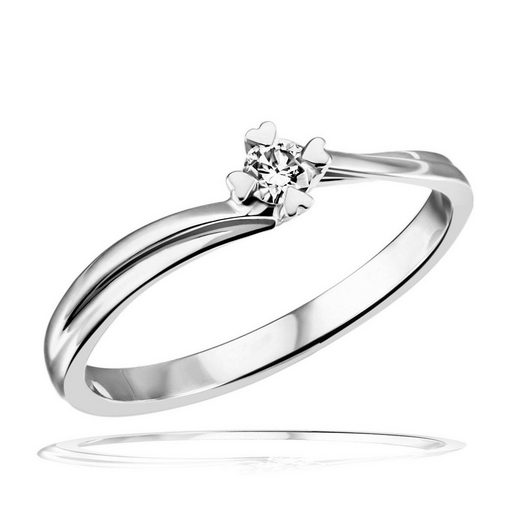 goldmaid Damenring Weissgold 585 Brillant Herz Stotzen Verlobungsring