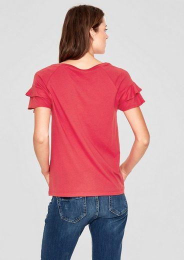 s.Oliver RED LABEL Jerseyshirt mit Volantärmeln