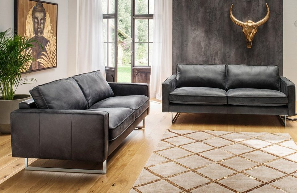 kasper wohndesign sofa garnitur leder schwarz mit oder ohne sessel aline online kaufen otto. Black Bedroom Furniture Sets. Home Design Ideas