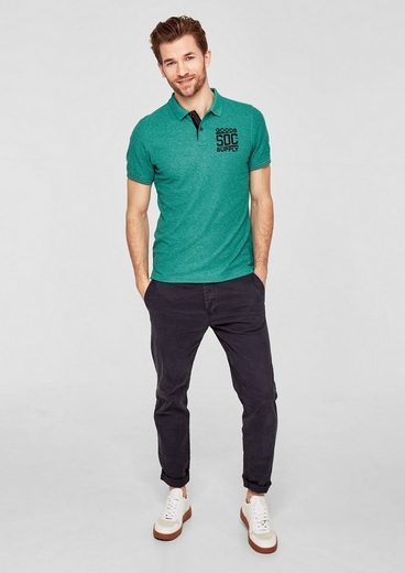 s.Oliver RED LABEL Meliertes Poloshirt mit Print