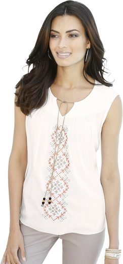 Classic Inspirations Shirttop With Fashionable Embroidery