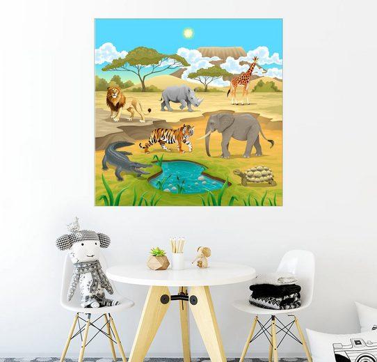 Posterlounge Wandbild - Kidz Collection »Afrikanische Tiere in der Savanne«