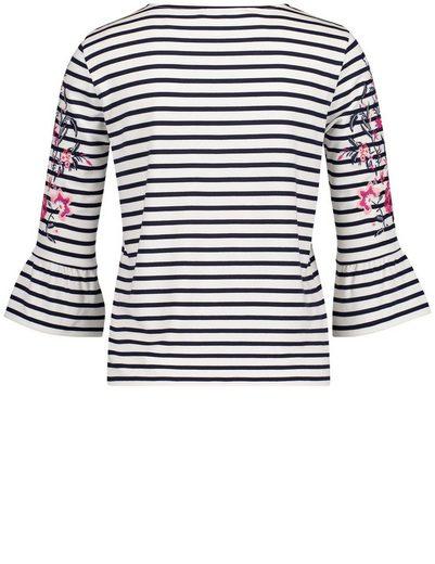 Gerry Weber T-Shirt 3/4 Arm Geringeltes 3/4 Arm Shirt mit Frontdruck