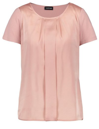 Typhoon T-shirt Short-sleeved Round Neck Blouses Shirt With Satin-front