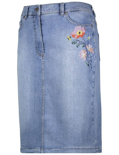 Gerry Weber Rock G kurz Jeansrock mit Stickerei