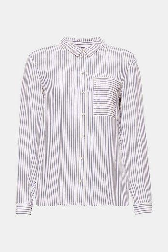 ESPRIT COLLECTION Leichte Streifen-Bluse mit großer Fronttasche
