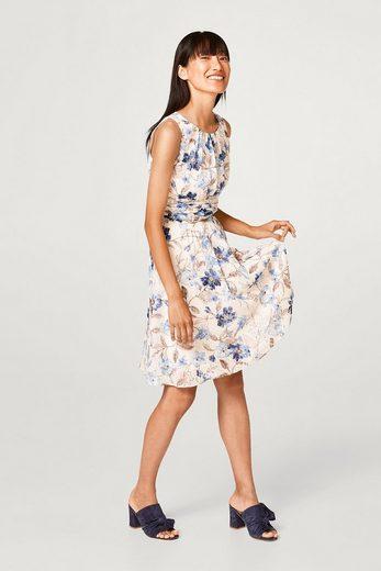 ESPRIT COLLECTION Zartes Kleid mit Jacquard-Tupfen und Blumen-Print