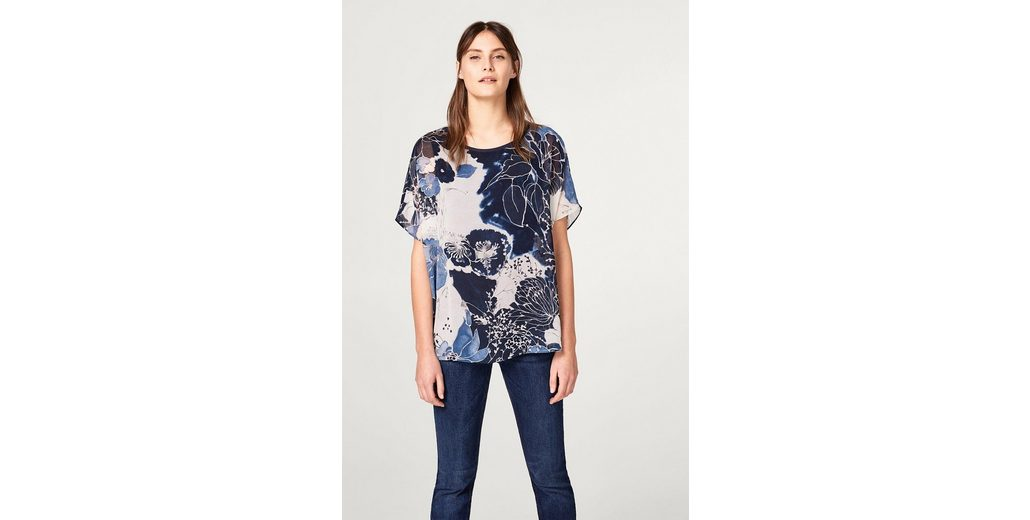 Blumen COLLECTION ESPRIT mit Shirt Blusen COLLECTION Oversize Print Oversize ESPRIT dekorativem q4faAz4nZ