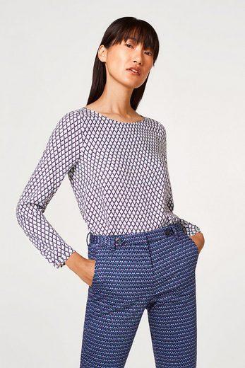 ESPRIT COLLECTION Fließende Bluse mit Grafik-Print und Knopfleiste