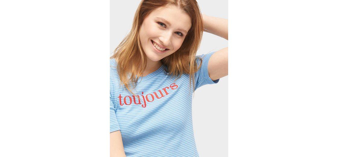 Tom Tailor Denim T-Shirt T-Shirt mit Schriftzug Günstig Kaufen Sammlungen Pick Ein Besten Zum Verkauf Steckdose Neue Stile ioxAH