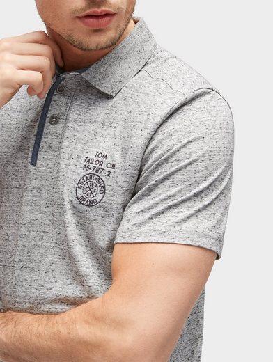 Tom Tailor T-Shirt Poloshirt in Melange-Optik